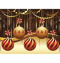 Decorative gold xmas balls8 vector