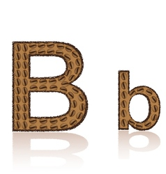 Letter b is made grains of coffee isolated on whit vector