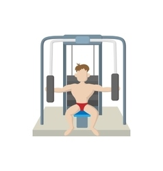 Naked man training muscles on gym machine icon vector