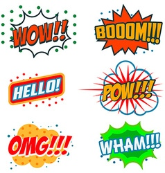 Set of comic style phrases boom wow omg vector