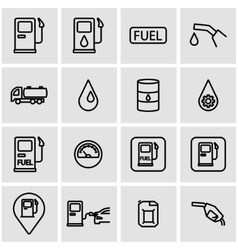 line gas station icon set vector image