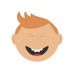 Laughing boy icon cute cartoon character with red vector