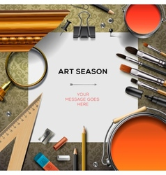Art supplies template with artist tools vector