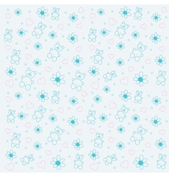 background with bears and flowers vector image vector image