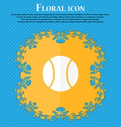 baseball icon Floral flat design on a blue vector image vector image