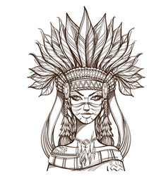 Beautiful girl in a headdress of north american vector