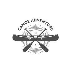 Canoe aadventure badge design element vector