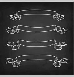 chalk sketch of vintage ribbons vector image vector image