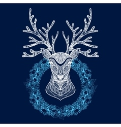 Christmas wreath with deer head vector