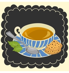 Cup of tea and cookie vector image vector image