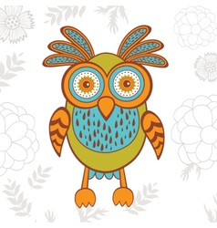 Cute of bright owl character vector