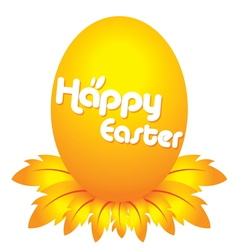 easter day golden egg cartoon character with feath vector image vector image