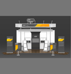 Exhibition case design 3d composition vector