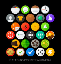 flat round icon set 7-multimedia vector image vector image