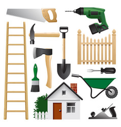 Home tools set for construction and repair vector