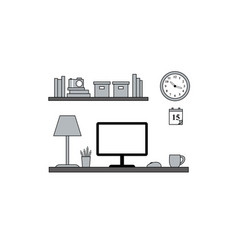 homeoffice workstation - vektor flat style vector image