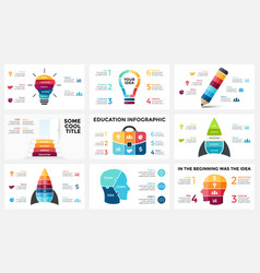 Infographic set light bulb idea education vector