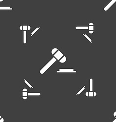 Judge or auction hammer icon sign seamless pattern vector