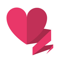 love heart with ribbon decoration vector image