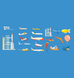 Missile helicopter airship balloon paraglider vector