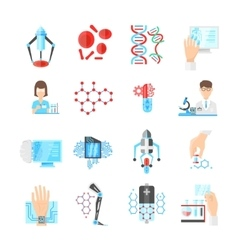 Nanotechnology flat icons set vector