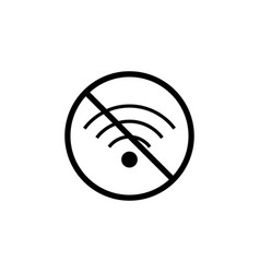 no wifi line icon prohibition sign forbidden vector image vector image