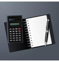 Open notebook calculator and pen vector image vector image