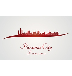 Panama city skyline in red vector