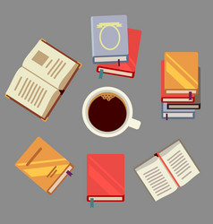read books and drink coffee - students concept vector image