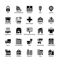Real estate glyph icons 5 vector