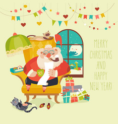 Santa claus sitting in armchair and reading letter vector