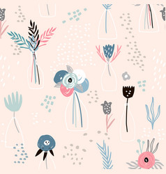 seamless minimalistic pattern with ink flowers in vector image vector image