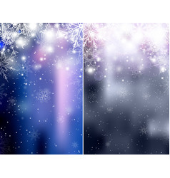set of blurred blue and silver christmas winter vector image vector image