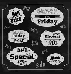 Set of monochrome great discount labels vector