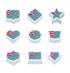 Tuvalu flags icons and button set nine styles vector