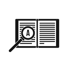 Magnifying glass over open book icon simple style vector