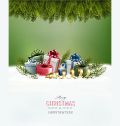 Holiday christmas background with a gift boxes vector