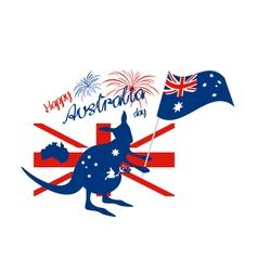 Kangaroo and australia flag with firework vector image