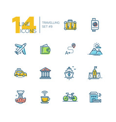 traveling - thick line icons set vector image
