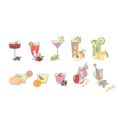 Set of popular alcohol cocktail vector