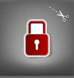 Lock sign   red icon with for vector