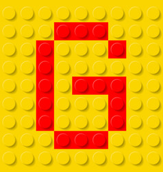 Red letter g in yellow plastic construction kit vector