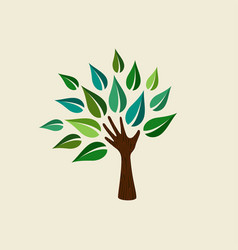Green hand tree for nature care vector