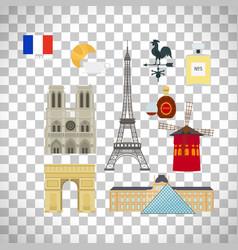 France flag and paris landmarks icons vector