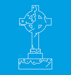 celtic cross gravestone icon outline style vector image