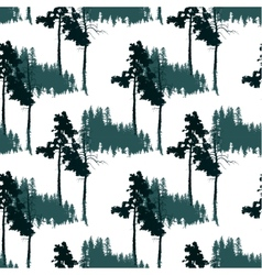 seamless pattern with forest landscape vector image