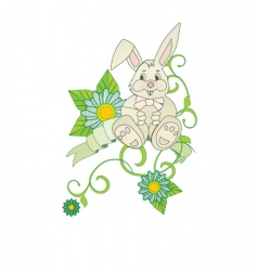 chamomiles bunny vector image