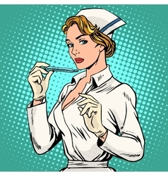 high temperature disease nurse thermometer vector image