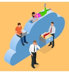 Mobile devices connected on a cloud data storage vector image