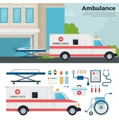 Ambulance car on the street in city vector